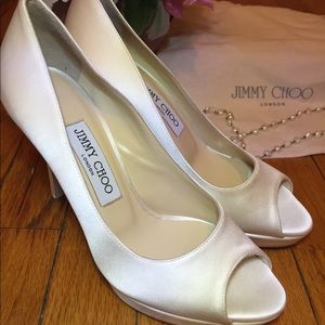Jimmy Choo Ivory Satin Peep Toe Pumps